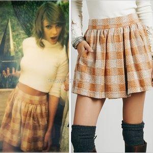 NWOT Free People Plaid Skirt ASO Taylor Swift, XS